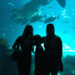 Posing with my cousin and son at the whale shark tank